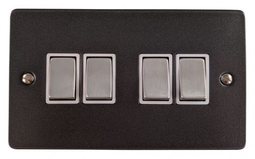 G&H FP204 Flat Plate Pewter 4 Gang 1 or 2 Way Rocker Light Switch